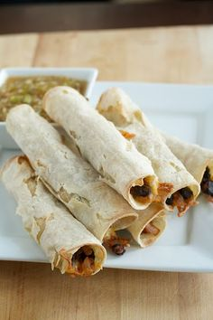 Baked Black Bean Taquitos - With the substitution of soy cheese.