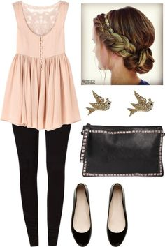 Light pink short gown, swallow eartops, black pants, black hand bag and shoes.. Click on the pic for more #outfits