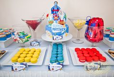 dessert tables, super hero, cake, sweet tables, superhero party