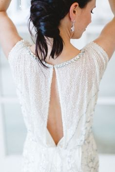 Sparkly wedding dress with an intimate open back: http://www.stylemepretty.com/destination-weddings/2014/09/30/germany-wedding-inspiration-clean-classic-elegant/ | Photography: Kibogo Photography - http://www.kibogophotography.com/
