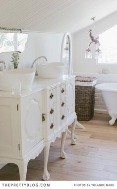 vintage dresser transformed to bathroom vanity. Love it!