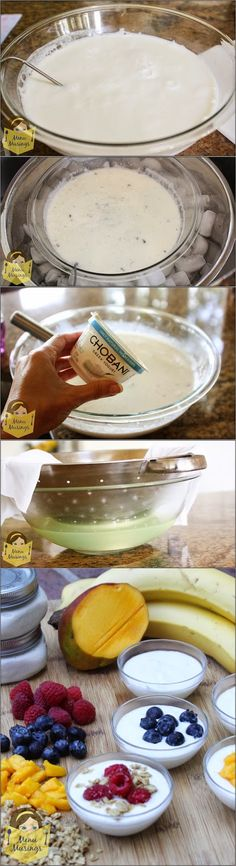 Super Easy Greek Style Homemade Yogurt - all natural, preservative free, creamy and delicious yogurt that you get to top and sweeten any way you wish! Its so easy to do at home... follow me with these step-by-step photos!