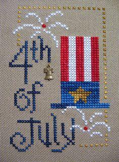 4th of july by kunderwood {stitchy stitcherson}, via Flickr, Kreinik metallics for added firework sparkle