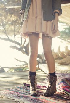 girly dress / lace up boots