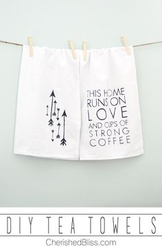 DIY Tea Towels {Love & Coffee} These easy peasy tea towels are made with a sharpie, and a free template.