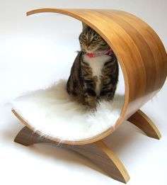 Modern and stylish cat bed made from curved plywood and featuring a removable and washable fluffy pad.