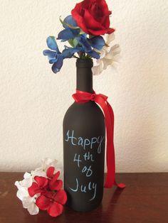 4th Of July Wine Bottle / Chalkboard Wine by TreasuredCelebration, $9.00