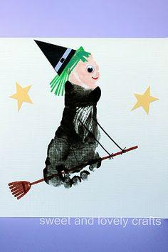 halloween witches, art crafts, footprint art, halloween cards, halloween sweets, fall crafts, footprint crafts, halloween crafts, halloween art