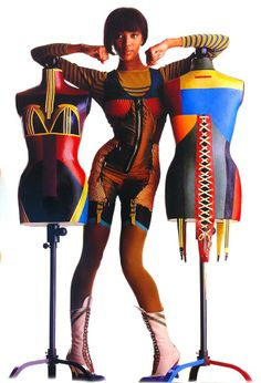 Naomi Campbell wearing an outfit inspired by the painter Richard Lindner, tailor's dummy designed by Jean-Paul Gaultier, 1990.  www.assouline.com/9782843237126.html