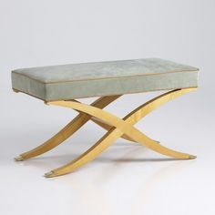 """CLAUDETTE BENCH (32 1/2"""") No. 402A  32 1/2""""w X 16 1/2""""d X 18""""h COM: 2.5 yds., 1.5 yds. contrast welt COL: 45 sq.ft., 27 sq.ft. contrast welt SHOWN IN POLISHED SYCAMORE NOT AVAILABLE IN CUSTOM SIZES"""