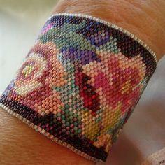 Beaded Bracelet, Beadwoven, Peyote, Tapestry style, Cuff,