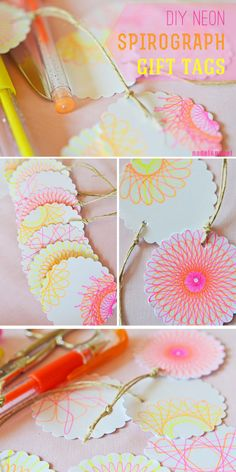 Neon Spirograph Gift Tags