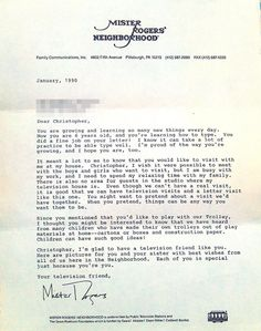 Response letter from Fred Rodger to a 6-year old fan.  An inspiration for how to be a good person.