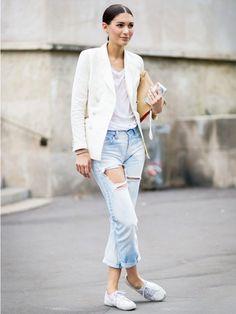 Sleek and Chic boyfriend jeans, dress up, rip jean, white blazer pixie
