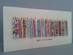 Happy 30th Birthday Candle Card with 30 paper candles by GurdGifts