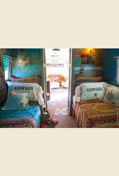 COwboy n' COwgirl pillow shams . . gorgeous ruffles on the edges. . chocolate brown print. . as seen here in DIERKS BENTLey's airstream {junk gypsy co - http://gypsyville.com/ }