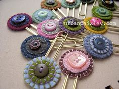 wonderful idea for little bookmark favors!  :) Felt bookmarks, gift, craft, hair clips, button, marque page, favor, bobby pins, diy