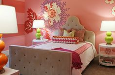 Suzie: Lucy and Company - Gorgeous girl's bedroom with pink walls paint color, wall decals, ...