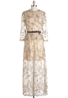 Awards Banquet Presenter Dress - Cream, Formal, Wedding, Vintage Inspired, Maxi, 3/4 Sleeve, Sheer, Long, Embroidery, Belted, Luxe, Fairytale