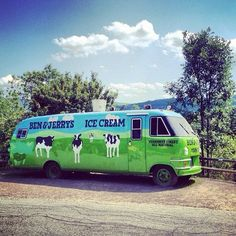 """In 1986, Ben & Jerry's launched its first """"Cowmobile"""", a modified mobile home used to distribute free Ben & Jerry's ice cream in a cross-country tour, driven and served by Ben and Jerry themselves. The Cowmobile burned to the ground outside of Cleveland four months later. Ben said it looked like """"the world's largest baked Alaska."""" The picture above is of Cowmobile #2 at our Waterbury, VT Factory. #fanfotofriday by @melissameo. (Taken with Instagram)"""
