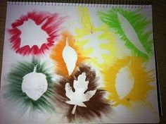 {Fall Fun} - Have your kiddos collect some leaves and create their own masterpieces with them using spray paint!