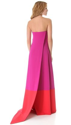 Gorgeous pink and red wrap gown.
