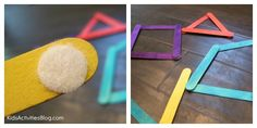 Jumbo Popsicle Sticks with Velcro – Super simple. Buy jumbo popsicle sticks and rounded pieces of velcro to stick on the ends. Your child can create many letters and design shapes from these sticks.