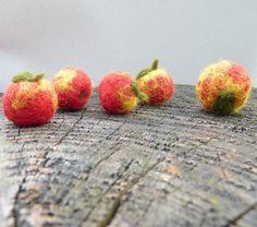 Autumn Weddings favor 3 wool felted apples  natural by astashtoys, $14.00