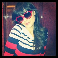 red, heart-shaped sunglasses