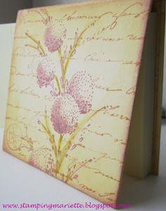 "By Mariëtte van Leeuwen. Uses flower stamp from ""Delicate Florals"" by Penny Black & Hero Arts ""Manuscript Background"" (H2141)."