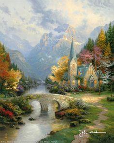 The Mountain Chapel by Thomas Kinkade
