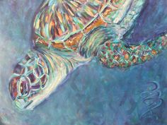 #Sea #turtle #painting by #Ann Lutz.