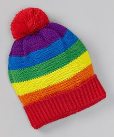 Loving this Rainbow Stripe Pom-Pom Beanie on #zulily! #zulilyfinds