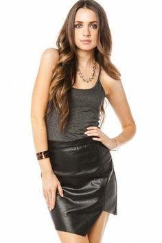 Trish Tank Top // Leather Look Skirt