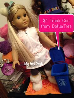 $1 Trash Can perfect size for American Girl Dolls from Dollar Tree