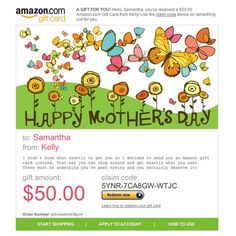 Amazon Gift Card - E-mail - Happy Mother's Day - Butterflies $50.00