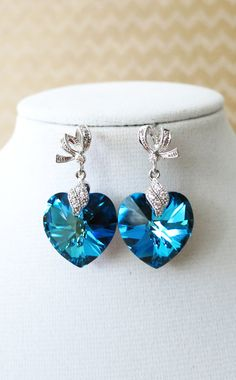 Bermuda Blue Swarovski Heart Crystal Earrings, bridal Cubic Zirconia earrings, blue weddings, bridesmaid earrings, crystal silver earrings, www.glitzandlove.com