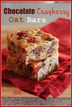 Chocolate cranberry oat bars!