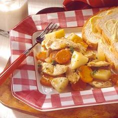 This savory stir-fried stew features chunks of carrots, potatoes, and chicken in a simple, herb-seasoned sauce, and it cooks in 30 minutes.
