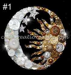 MOON & SUN new size! 6x6 Button Art, Button Artwork, buttons, Swarovski, Zodiac, Love, Crescent Moon