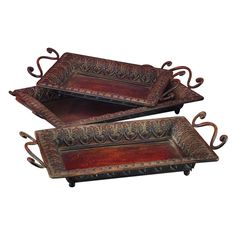 Benzara 3H in. Antique Tray - Set of 3 $50.99