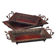 Benzara 3H in. Antique Tray - Set of 3 $50.99