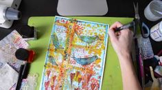 background.  mixed media art: Birds on tree light, su carta da acquerello