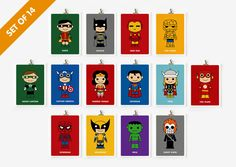 Cute superhero 5x7 art prints set of 14 by loopzart on Etsy