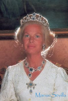 the Duchess of Kent wearing a sapphire parure, which i believe, belonged to Queen Mary.    and a different sapphire tiara of unknown origin