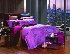Cliodna Luxury Fuchsia and Paisley Print Bedding by Dolce Mela Discount Jacquard King Duvet Set