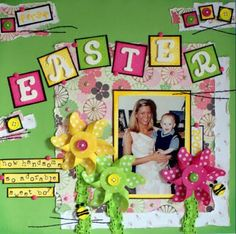 photo layouts, the hunt, buckets, letter, colors, easter scrapbook, children, flowers, scrapbook pages