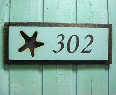 House Number Sign Starfish Beach House Decor