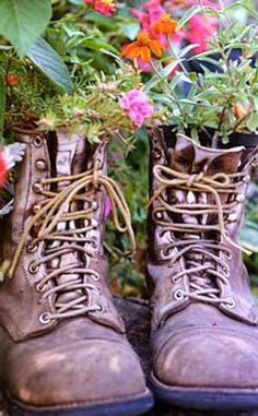 Boots full of flowers