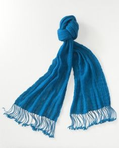 Crinkled Gauze Wool Scarf by Coldwater Creek Rich Teal Blue NEW  http://beachcatsbargains.ecrater.com/  beachcats bargains